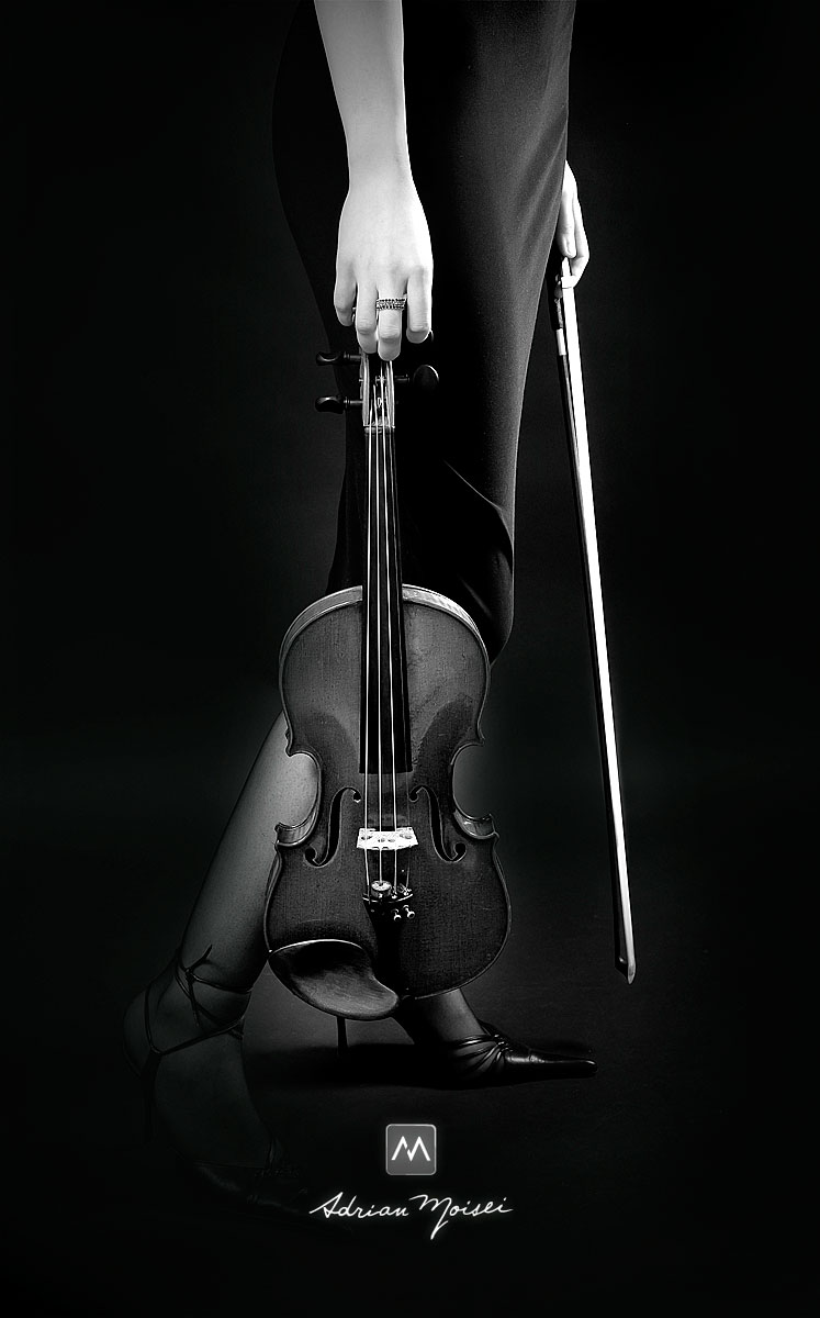 Vioara alb negru, fotografie de studio Iasi
