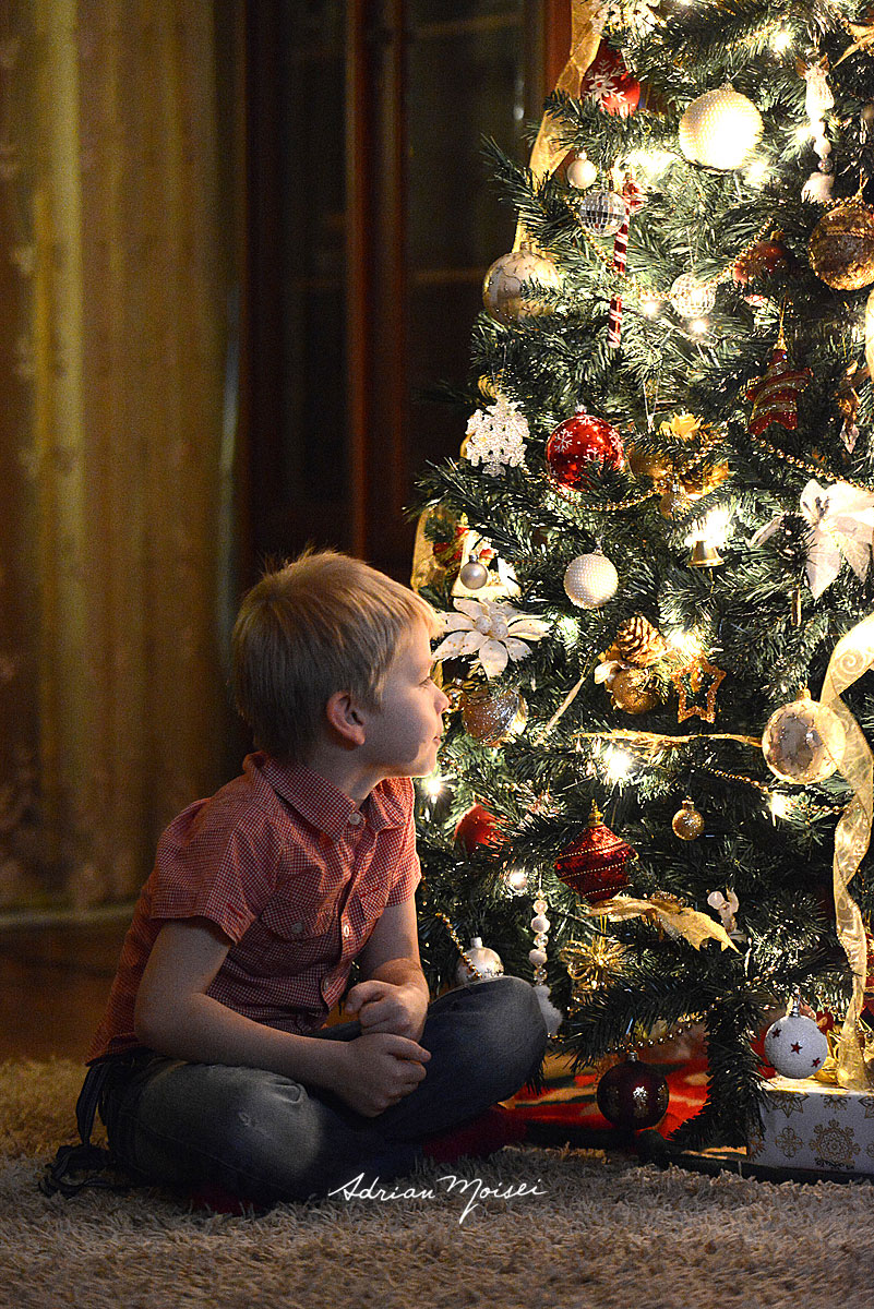 Copilas langa pomul de Craciun