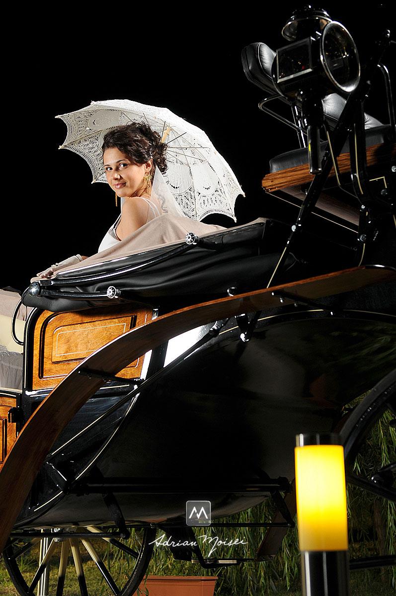 Mireasa cu o coafura speciala, în ziua nunții, fotografie de nuntă Iași, realizată  de Adrian Moisei, fotograf nuntă Iași