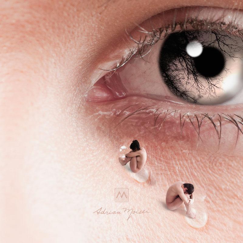 Tristetea, colaj fotografic de Adrian Moisei, artist fotograf Iasi