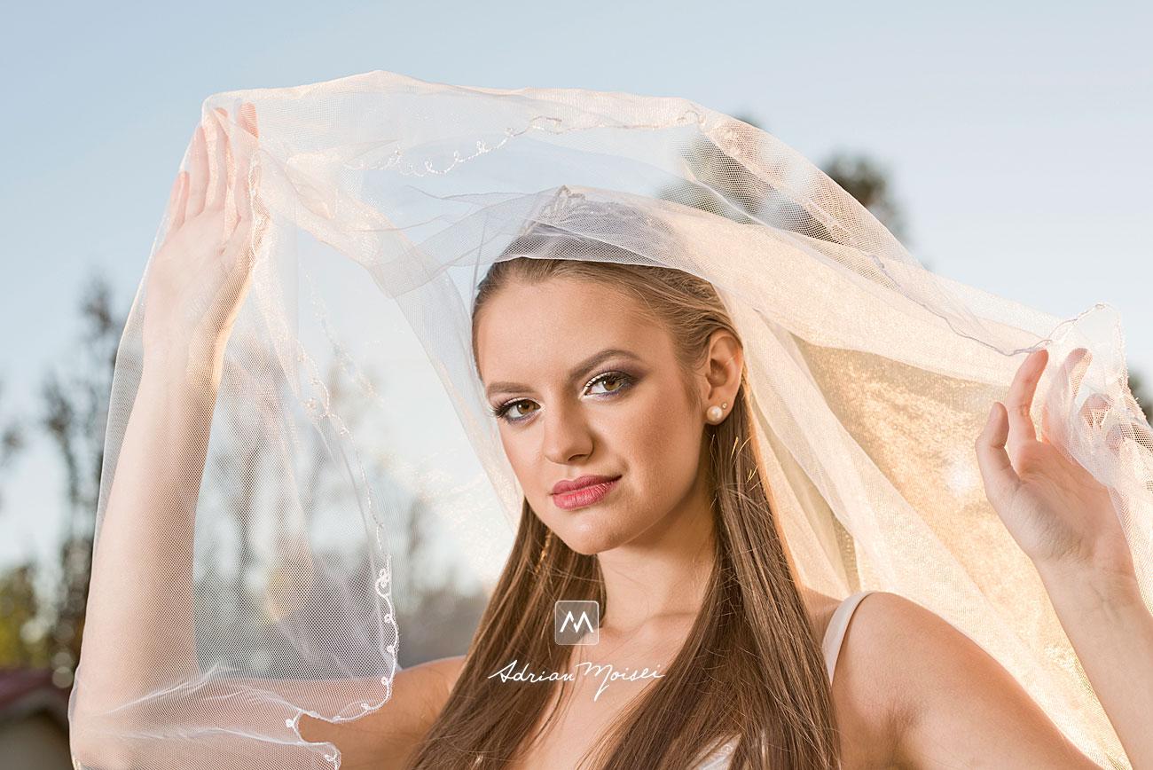 Mireasă în lumina soarelui de apus, Adrian Moisei, artist fotograf ieșean, fotograf nuntă Iași